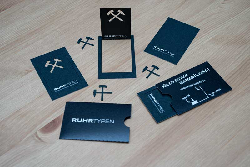 Lasergravierte Visitenkarte von Werbeagentur Gladbeck Ruhrtypen 3