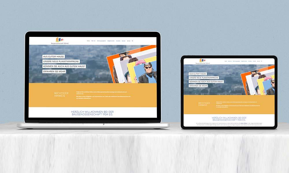 homepage Web design-baugenossenschaft bochum von Werbeagentur Bochum Gladbeck